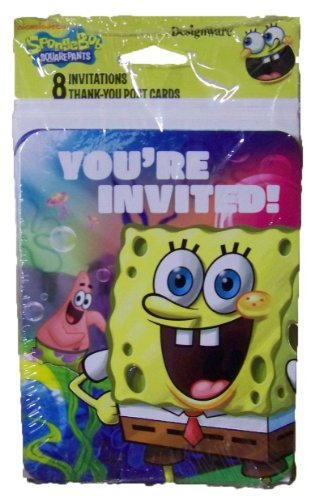 (SpongeBob SquarePants Sponge Bob Party Invitations and Thank You Post)
