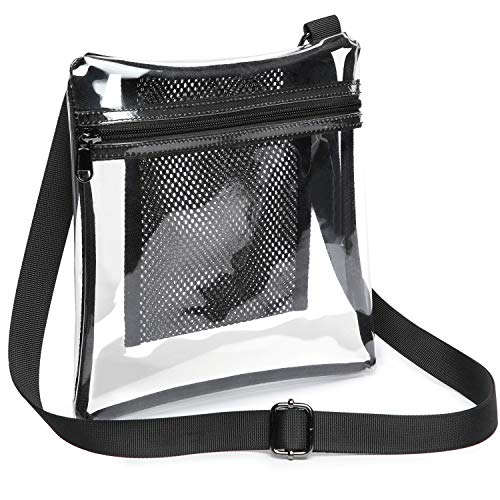 Nfl Sports Bag Purse - Clear Purse, iSPECLE Clear Bag Stadium Approved for BTS Concert, NFL PGA, Black