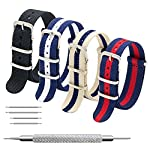 Nato Strap 4 Packs – 20mm 22mm Premium Ballistic Nylon Watch Bands Zulu Style with Stainless Steel Buckle (Black+Navy Red+Linen Navy+Navy White, 20mm)