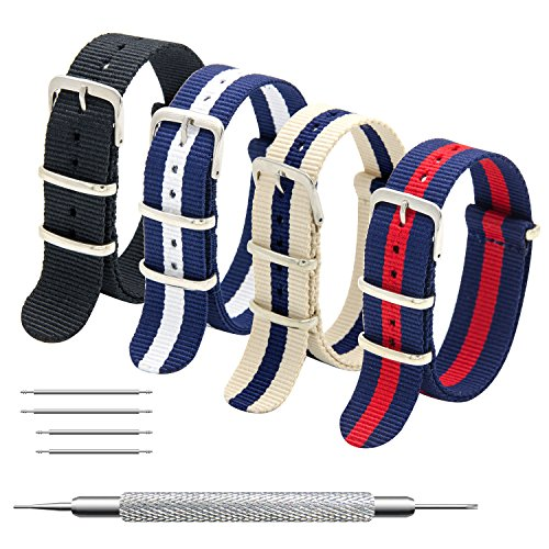 CIVO NATO Strap 4 Packs - 20mm 22mm Premium Ballistic Nylon Watch Bands Zulu Style with Stainless Steel Buckle (Black+Navy Red+Linen Navy+Navy White, - Competitor Steel Ladies Band