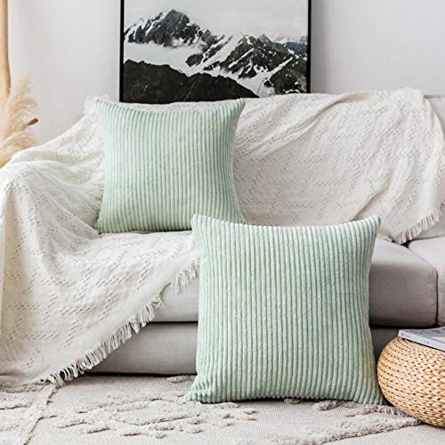 "Home Brilliant Throw Pillow Cover Super Soft Striped Velvet Cushion Cover for Living Room, 20"" x 20"" (50cm), Mint"