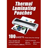 "Halcent 5""x7"" Photo Laminating Pouches, 3 mil Laminator Sheets Pouches for Sealed Photo Card Documents, Glossy Laminate Sheet 100-Pack(5.3"" x 7.4"")"