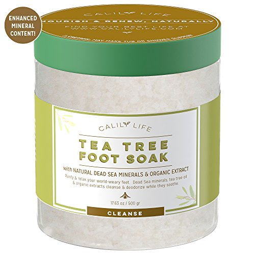 Calily Life Organic Tea Tree Oil Foot Soak with Natural Dead Sea Minerals , 16 Oz. - Rejuvenate and Detox Tired & Achy Feet - Softens & Refreshes Feet, Eliminates Odors, Body scrub [ENHANCED]