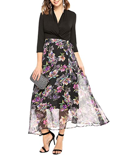 ANGVNS Sleeve Patchwork Floral Chiffon