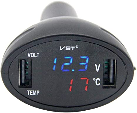 Rkurck 12/V//24/V 3/in 1/digitale LED voltmetro termometro monitor Dual porte USB caricatore auto temperatura Meter voltmetro