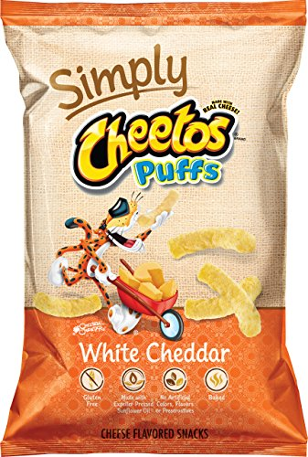 Cheetos Cheese Snacks, Simply White Cheddar Puffs, 8 Ounce
