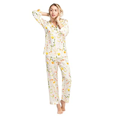 8fbf4feb2f Image Unavailable. Image not available for. Color  LilySilk Silk Pajamas  for Women Pure Mulberry Blossom Floral Print Spring Pattern 22 Momme  Charmeuse Soft