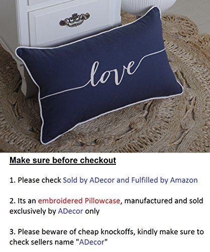 ADecor Pillow Covers Love Lumbar Pillow Cases Pillow Covers Embroidered Cushion Couple Wedding Anniversary P328 (12X20, Navy) -
