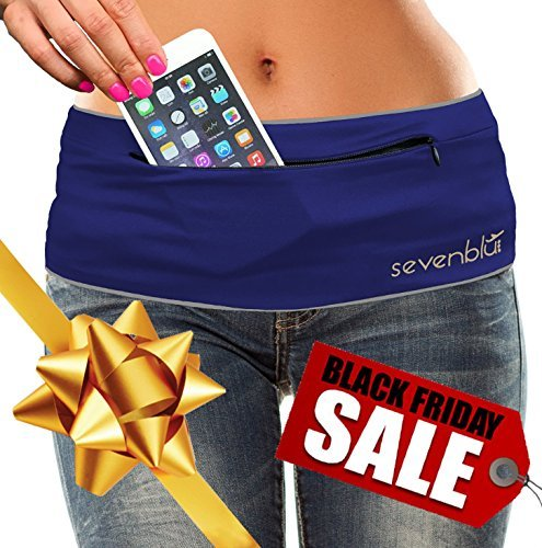 SevenBlu HIP - Fashion Money Belt / Extra Pocket / Running Belt - World's Best Stylish Travel Wallet or Mini Purse - with ZIPper - Fits iPhone 6 Plus - Your Smartphone Pocket (Navy XL) (Wwe Eagle Belt compare prices)