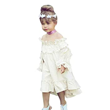 c21352cdbd2af 子供服 ワンピース 女の子 長袖 Plojuxi ドレス かわいい ベビー服 赤ちゃん服 洋服 レース刺繍 ボートショルダー