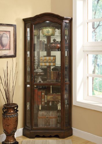 Coaster Home Furnishings 950175 Traditional Curio Cabinet, Rich Brown (Glass Mirrored China Cabinet)
