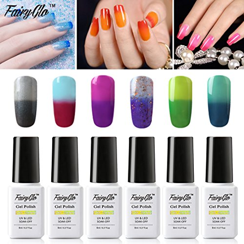 FairyGlo 6 PCS Thermal Color Changing Gel Nail Polish UV LED