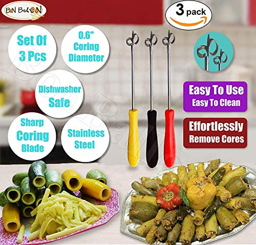 "3 pcs Zucchini Squash Cucumber Corer Vegetable Corers Drill Stainless Steel Core Remover Coring Tool Kitchen Stuffed Vegetables Veggies Seed Remover Tools Remove Seeds Eggplant 10"" Long Gadgets"