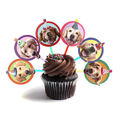 Golden Retriever Cupcake Toppers - Set of 6 different birthday dogs party decorations