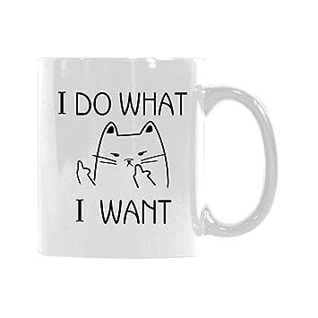 Lema gracioso HAGO LO QUE QUIERO Taza de café clásica del gato de Badass Taza de