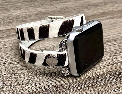 Black & White Vegan Leather Bracelet For Apple Watch All Series 38mm 40mm 42mm 44mm Handmade Double Wrap Zebra Print Design Apple Watch Band Adjustable Size Fashion Strap Apple Watch Bracelet