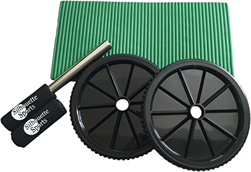 Ab Roller with Comfort Knee Pad (Green) and - Exercise Equipment Treadclimber