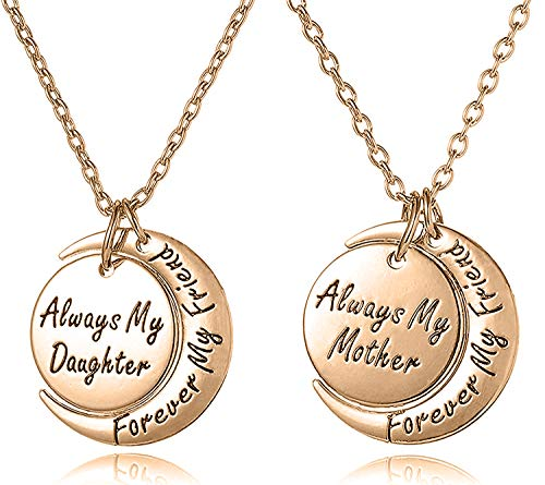 Mother's Day Jewelry Gifts Mother & Daughter Necklace Set for 2 - ''Always my Mother/Daughter Forever my Friend'' Unique Mom/Daughter Matching Moon Pendant Necklaces for Best Mom Ever (Rose Gold Tone) (Mother Daughter Best Friends)