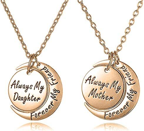 Mother Daughter Jewelry Necklace Gift Set for 2 - ''Always My Mother/Daughter Forever My Friend'' - Mom Daughter Matching Moon Pendant Necklaces