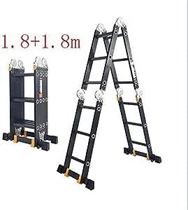 Escalera telescópica, Multifunción Escalera, hogar escalera plegable cubierta de espiga Escalera, Escalera Portátil aleación de aluminio telescópica Ingeniería (Color : 1.8+1.8m): Amazon.es: Bricolaje y herramientas