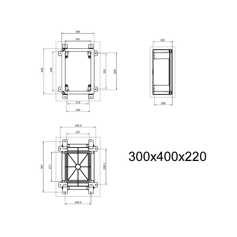 Schaltschrank IP65 Sichttür Industriegehäuse 300 x 400 x 195 mm ...