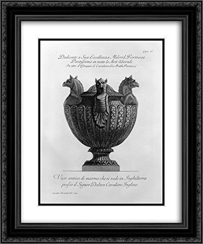 Giovanni Battista Piranesi 2X Matted 20x24 Black Ornate Framed Art Print 'Vase with Ancient Marble Griffins and Ribbing'