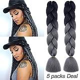 MYCHANSON Long Jumbo Braiding Hair Synthetic High Temperature Fiber African Twist Two Tone Ombre Color Braids(Black Deep Grey & 5pcs)