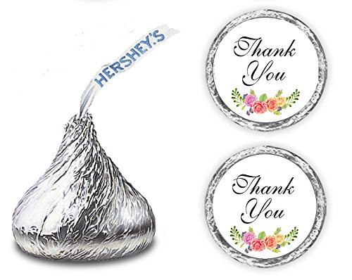 324 Floral Roses Thank You Hershey Kiss Wedding Stickers, Chocolate Drops Labels Stickers For Weddings, Bridal Shower Engagement Party, Hershey's Kisses Party Favors