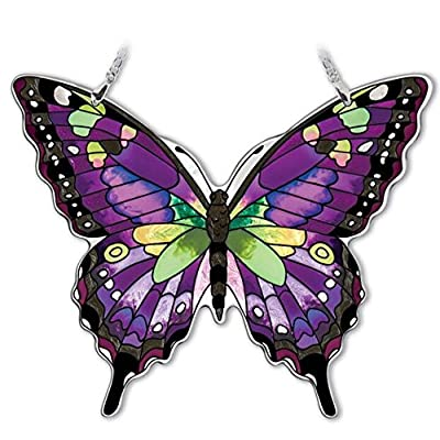 Amia Hand-Painted Glass Butterfly Suncatcher - Purple, Swallowtail (42326): Home & Kitchen