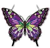 Amia Hand-Painted Glass Butterfly Suncatcher - Purple, Swallowtail (42326)