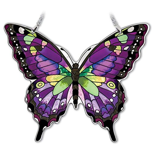 Amia Hand-Painted Glass Butterfly Suncatcher - Purple, Swallowtail -