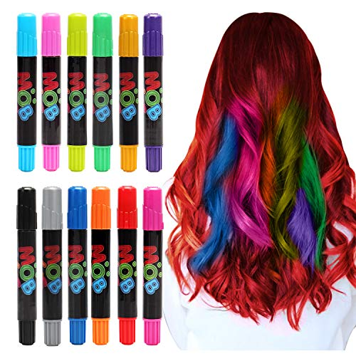 MOBIUS Toys Colorful Hair Chalk Pens for Girls - Hair Chalk (12 Colors), Temporary Hair Color for Kids and Hair Chalk for Kids, Beautiful Hair Paint Birthday Gift for Girls Age 8, 9, 10 ++ -