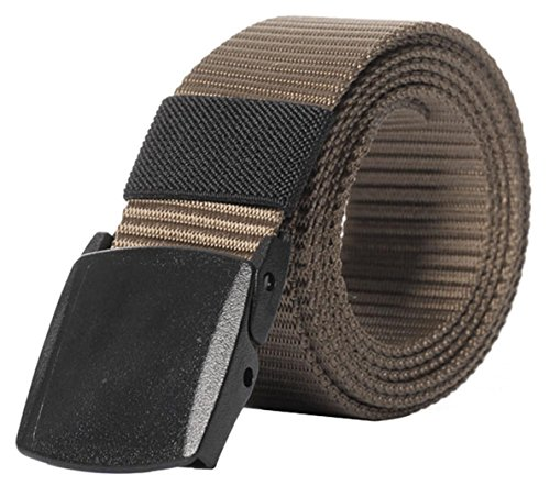 IF FEEL Men's Military Style Tactical Nylon Web Belt With Plastic Buckle (Designer Style Belt Buckle)
