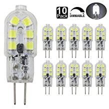 Dayker Dimmable G4 LED Light Bulb 2W Jc Type Bi-pin Base 15W Halogen Replacement Daylight for Accent Lights, Marine Boat, Under Cabinet, Closet Lighting(10 Pack)