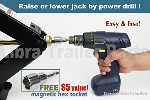 Libra Set of 2 7500 lb Heavy Duty 24'' RV Trailer Stabilizer Leveling Scissor Jacks w/handle & Dual Power Drill Sockets & hardware -Model# 26037 … by Libra (Image #2)
