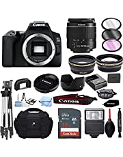 $754 » EOS 250D Digital SLR Camera Body with 18-55mm f/3.5-5.6 is STM Lens 3 Lens DSLR Kit Bundled with Complete Accessory Bundle + 32GB + Flash + Case/Bag & More - International Model