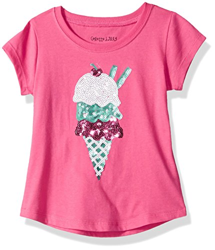 Colette Lilly Toddler Girls' Short Sleee Sequin Tee, Pink Ice Cream, 4T