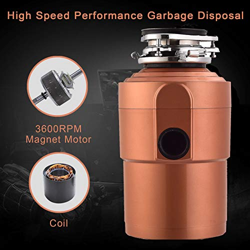 - 1.5 HP 3600 RPM Commercial Garbage Disposal Continuous Feed Food Kitchen Waste