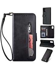 Miagon for Samsung Galaxy Note 10 Lite PU Leather Wallet Phone Case,Premium Zipper Flip Wallet Case Cover with Magnetic Closure Card Slots Wrist Strap