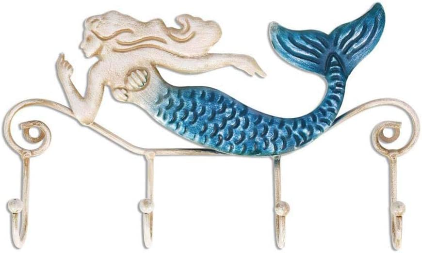 Mayplus Wall Hook Rack, Iron Mermaid Wall Decoration 4 Hooks Wall Mounted Key Holder for Coats Towels Bags Wall Mount Clothes Holder Hanger(Mermaid)