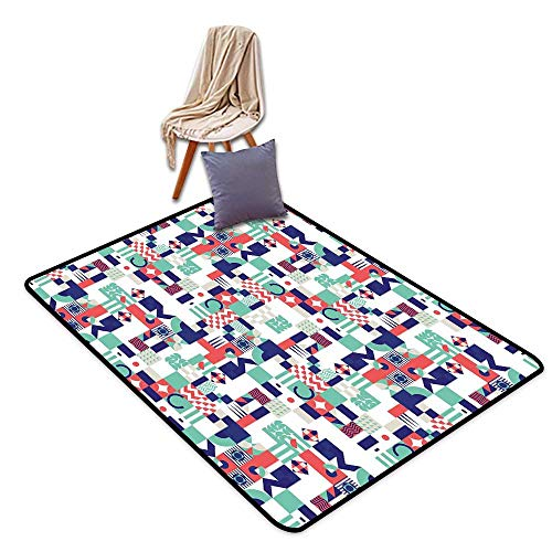 Bath Rug Slip Mid Century Rich Contemporary Mosaic of Funky and Pastel Shapes W39 xL63 Suitable for Restaurants,Family Rooms,corridors,foyers.