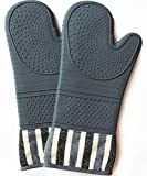 Silicone Oven Hot Mitts - 1 Pair of Extra Long Professional Baking Gloves - Food Safe, Heat Resistant 550 Degree,Oven mitt,Cooking Mitts, Baking, Grilling(gray)