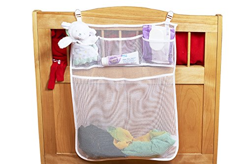 Baby-Nursery-Organizer-For-Cribs-By-Loved-Bimbi-Practical-Hanging-Storage-Bag-With-4-Compartments-Diaper-Organizer-to-store-Lotions-Powder-Wipes-Diapers-and-Toys-White-Breathable-Playard-Caddy