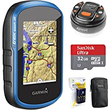 Garmin eTrex Touch 25 Color Touchscreen GPS/GLONASS Handheld, 3-axis Compass (010-01325-00) + 32GB Memory Card + LED Brite-Nite Dome Lantern Flashlight + Carrying Case + 4x AA Batteries w/Charger
