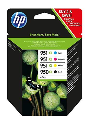HP 950XL-951XL C2P43AE Negro, Cian, Amarillo y Magenta, Cartucho de Tinta de Alta Capacidad Original, Pack de 4, de 6…