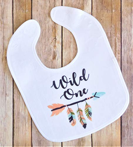 Baby Bib for Girls - Wild One First Birthday Party Bib - Boho Feathers and - 1st Birthday Personalized Bib