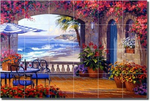 ''Echo of Romance'' by Mikki Senkarik - Artwork On Tile Ceramic Mural 17'' x 25.5'' Kitchen Shower Backsplash