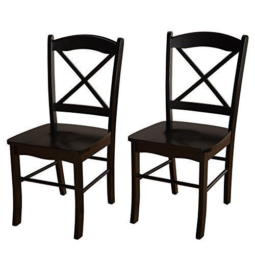 Target Marketing Systems Set of 2 Tiffany Dining Chairs Cross Back, Set of 2, White/Natural