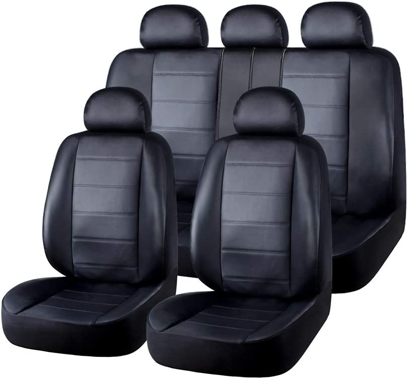 AUTO HIGH 11-Pieces Car Seat Covers Full Set - Premium Faux Leather Automotive Front and Back Seat Protectors - Fits Most Car Truck Van SUV, Black #3