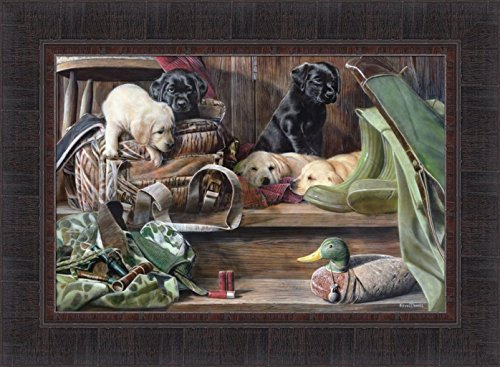 (Home Cabin Décor Dog Tired II by Kevin Daniel 17x23 Labrador Black Yellow Lab Puppies Puppy Duck Hunting Decoy Framed Art Print Picture)